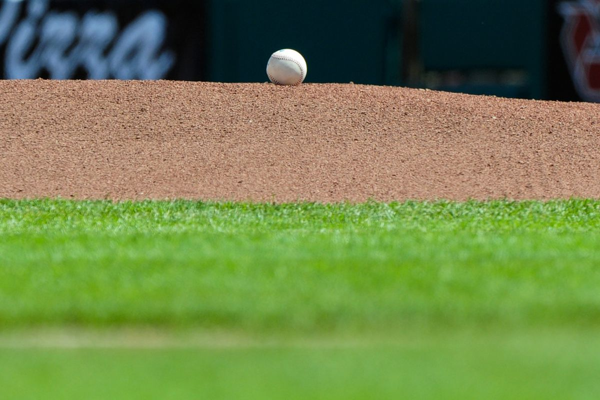 Mar. 27, 2012; Scottsdale, AZ, USA; General view of a baseball as it sits on the pitcher's mound prior to the game between the San Francisco Giants and the Los Angeles Angels at Scottsdale Stadium.  Mandatory Credit: Matt Kartozian-US PRESSWIRE
