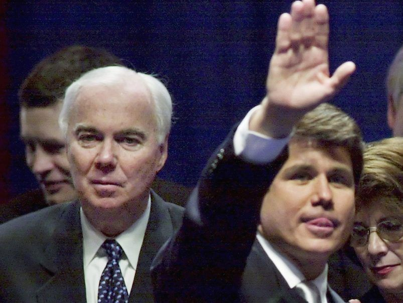 Chicago Ald. Richard Mell (left) with his son-in-law, Rod Blagojevich, during Blagojevich's inauguration in January 2002. | Associated Press