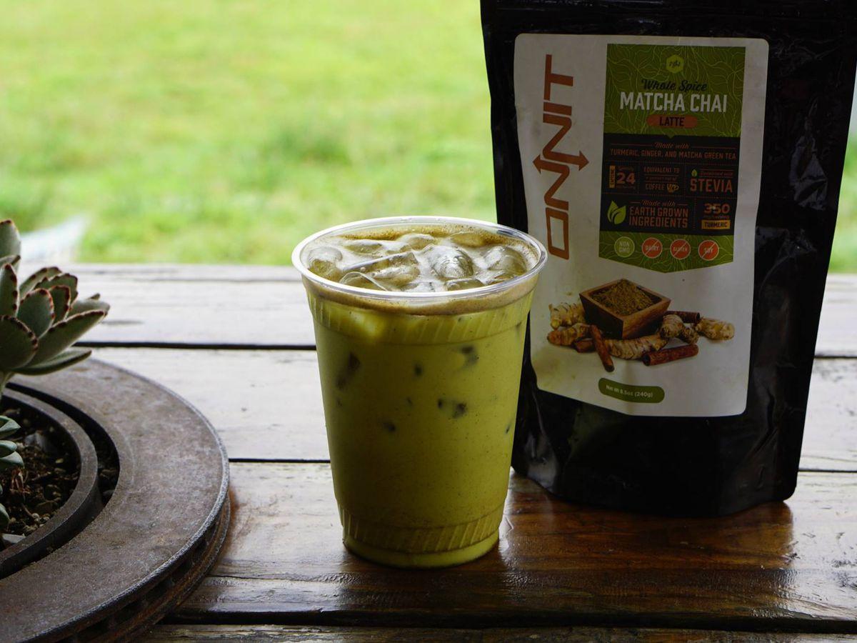 A golden milk matcha drink at Picnik