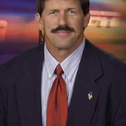 This 2002 photo provided by ESPN shows college football analyst Todd Christensen. Former Raiders tight end and five-time Pro Bowler Christensen died from complications during liver transplant surgery. He was 57. Christensen's son, Toby Christensen, said his father passed away Wednesday morning, Nov. 13, 2013 at Intermountain Medical Center near his home in Alpine, Utah.