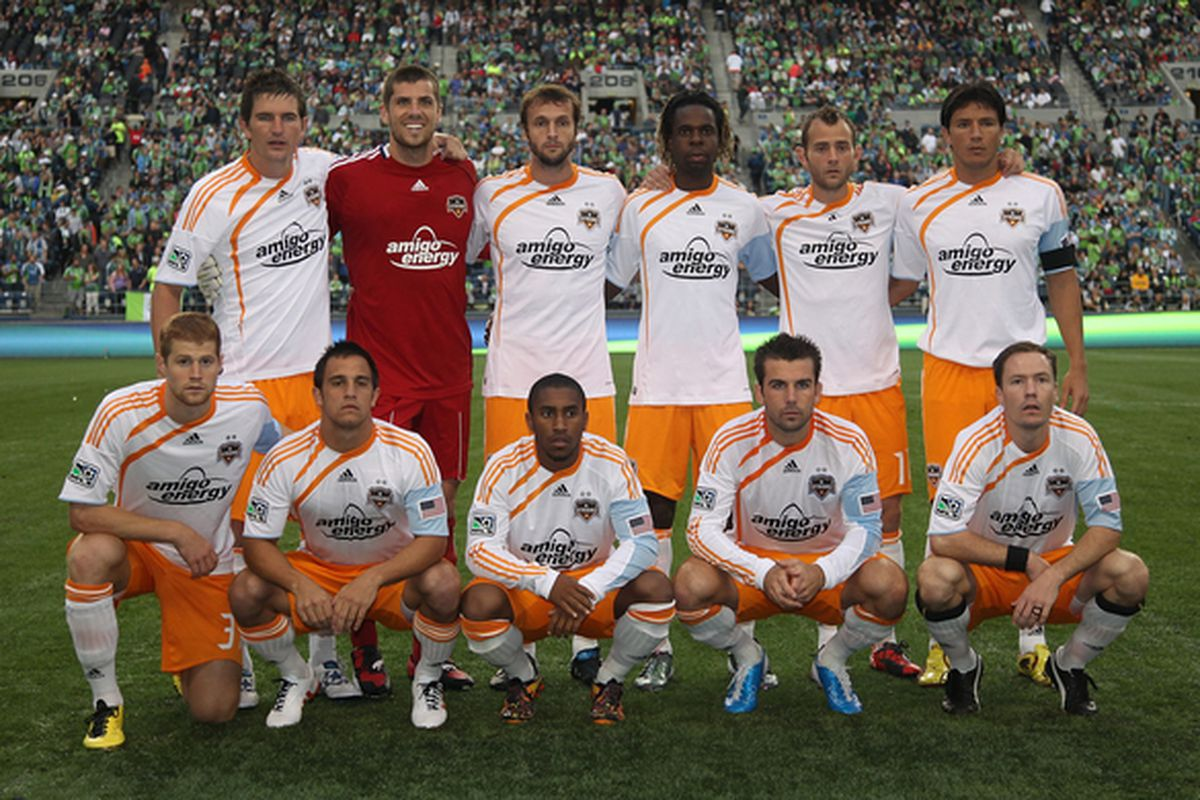SEATTLE - AUGUST 08:  Members of the Houston Dynamo pose for a team photo prior to the game against the Seattle Sounders FC on August 8 2010 at Qwest Field in Seattle Washington. (Photo by Otto Greule Jr/Getty Images)