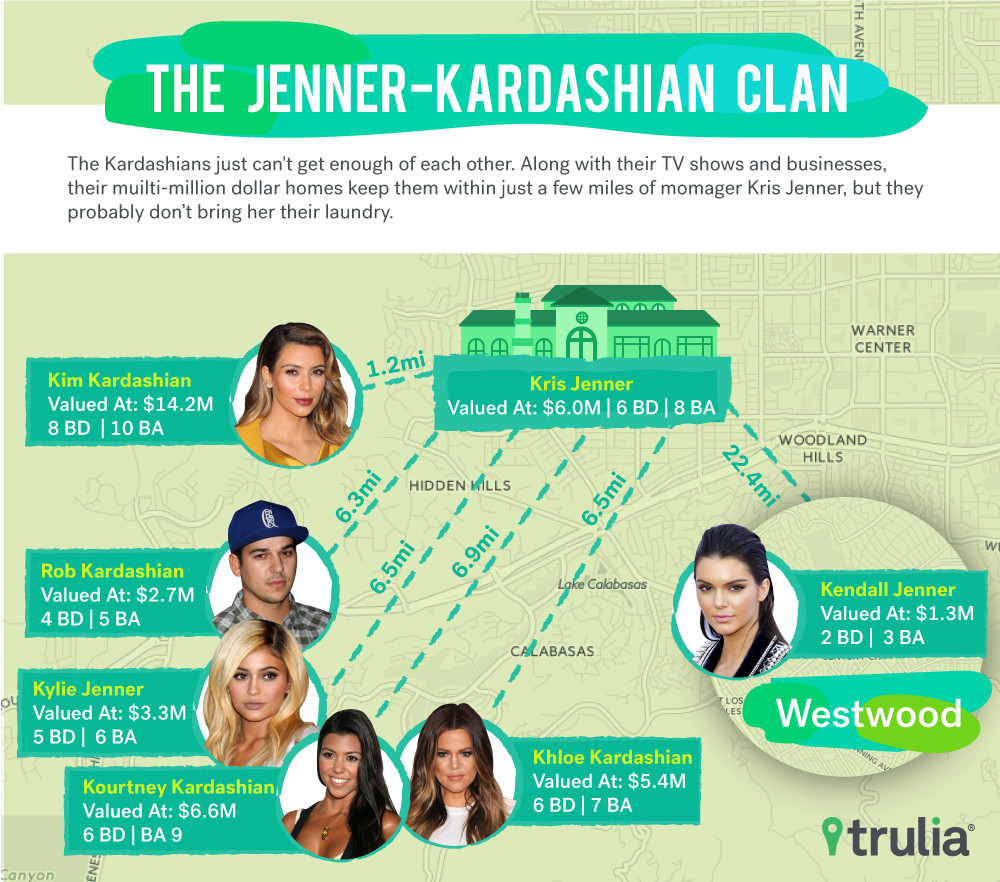 Map showing homes of Kris Jenner and children