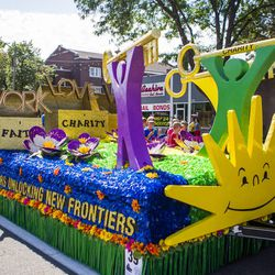 The West Bountiful Utah Stake float is pictured during the Days of '47 Union Pacific Railroad Youth Parade held Saturday, July 18, 2015, in Salt Lake City.