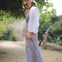 """Emily of <a href=""""http://cupcakesandcashmere.com/"""">Cupcakes and Cashmere</a> is wearing a Rag & Bone blazer, an Urban Outfitters dress, a vintage slip, a <a href=""""http://www.shopbop.com/roxanne-thin-rose-gold-plate/vp/v=1/845524441926857.htm?folderID=2534"""