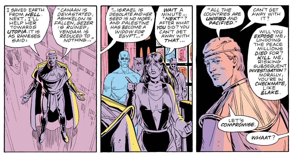 Ozymandias quotes Rameses at the height of his victory, in Watchmen, DC Comics (1987).