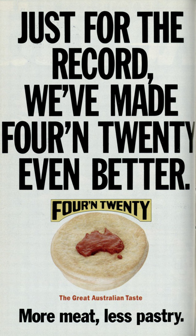 """""""Just for the record, we've made the Four 'N Twenty even better"""" says a 1990s-era advertisement"""