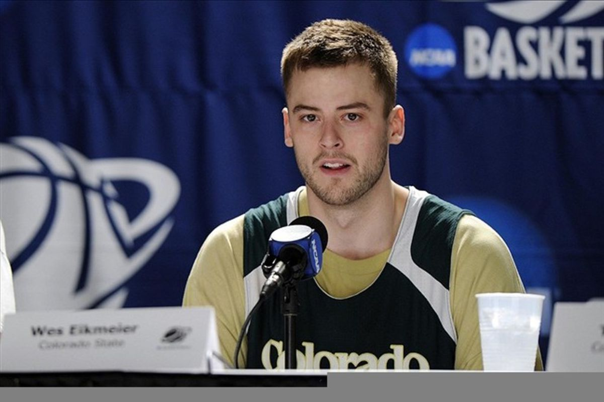 Mar 14, 2012; Louisville, KY, USA; Colorado State Rams guard Wes Eikmeier (10) speaks during a press conference for the second round of the 2012 NCAA men's basketball tournament at the KFC Yum! Center.  Mandatory Credit: Jamie Rhodes-US PRESSWIRE
