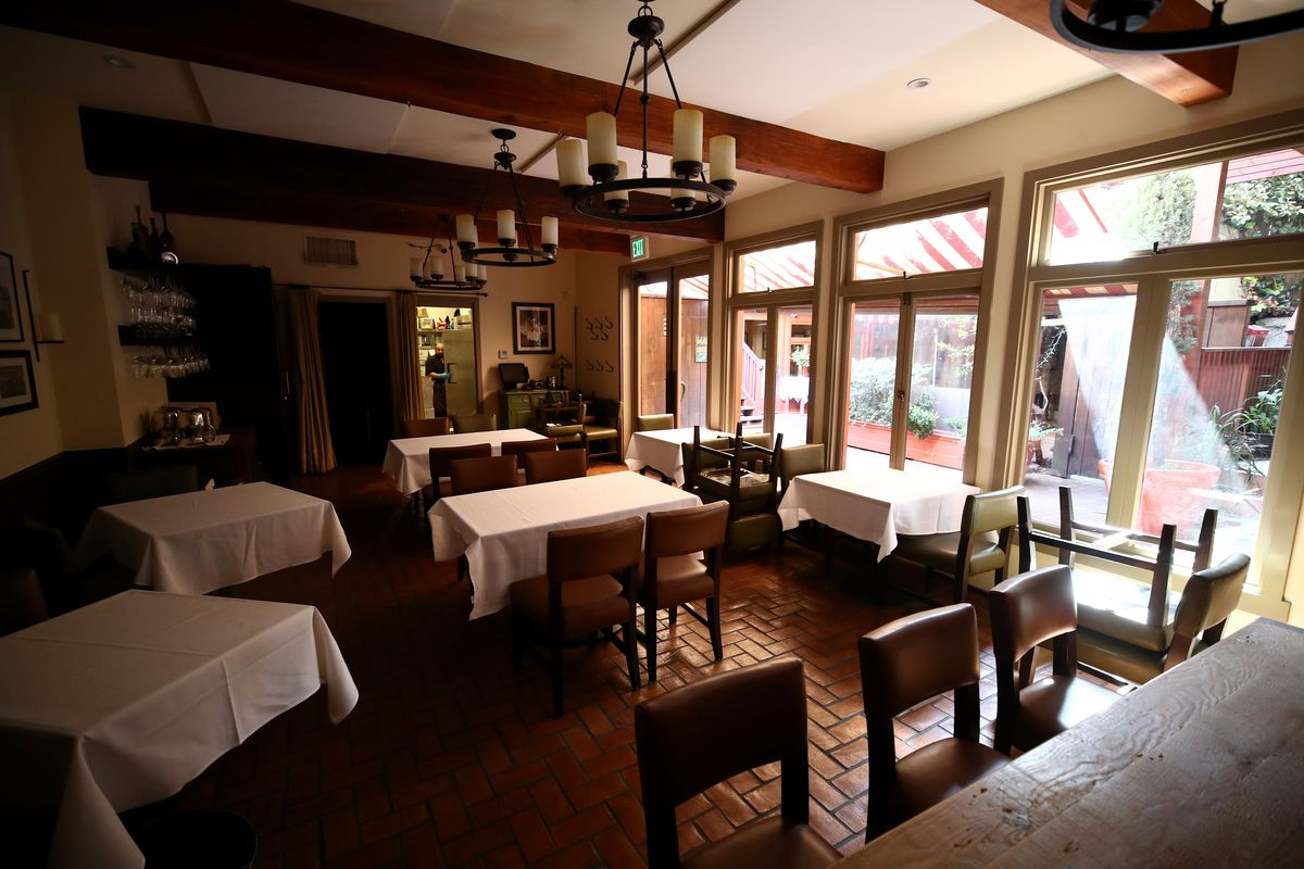 The empty dining room of San Francisco restaurant Sociale