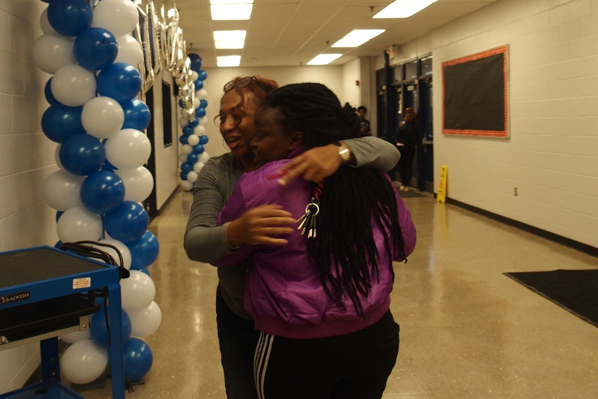 Kirby High School students and staff reunited before a scheduled return to the Memphis building Monday. The school had been closed because of rats and about 800 students were scattered to three locations as Shelby County Schools worked on the building.