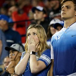 Brigham Young Cougars fans watch as their team trails the Utah Utes at LaVell Edwards Stadium in Provo on Saturday, Sept. 9, 2017.