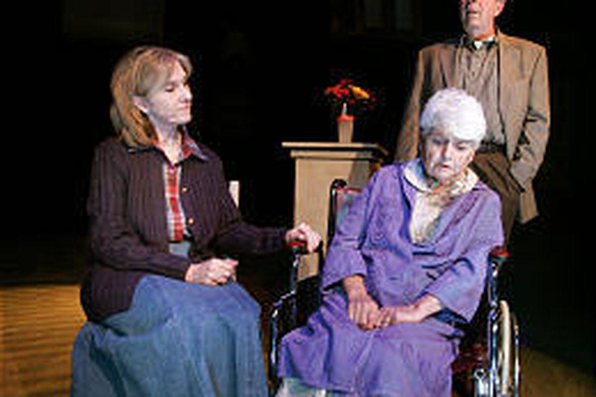 "Nancy Carpenter (Anita Booher), Cammie Carpenter (Joan Erbin) and Ken Carpenter (Joe Cronin) in ""The Man From Nebraska"" at SLAC."