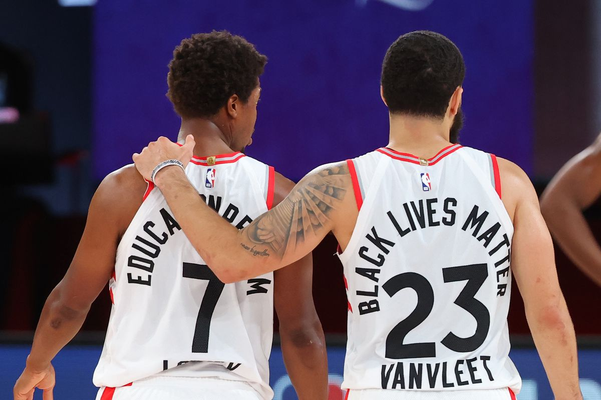 Fred VanVleet of the Toronto Raptors and Kyle Lowry #7 of the Toronto Raptors huddle up during Round One, Game One of the NBA Playoffs on August 17, 2020 at AdventHealth Arena at ESPN Wide World of Sports in Orlando, Florida.