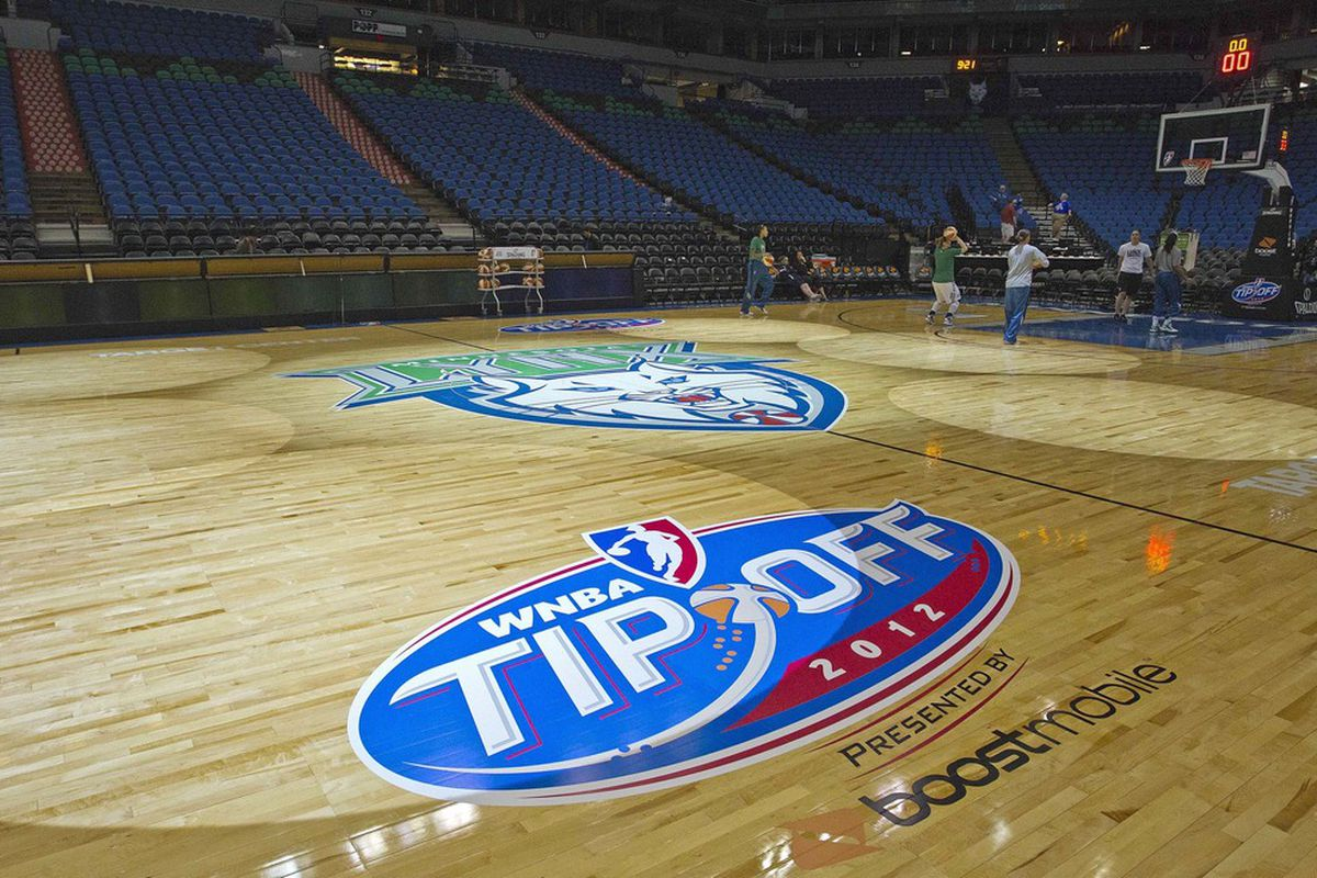 May 20, 2012; Minneapolis, MN, USA: A general view of the new floor before a game between the Phoenix Mercury and Minnesota Lynx at Target Center. Mandatory Credit: Jesse Johnson-US PRESSWIRE