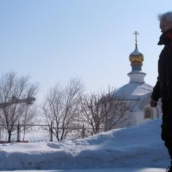 An ethnic Russian man leaves a church after attending a Russian Orthodox service in the central Kazakhstan town of Zhezkazgan on March 18, 2012.