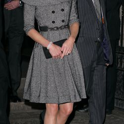 Visiting London's National Portrait Gallery on February 8th, 2012 in a coatdress by high street label Jesire.