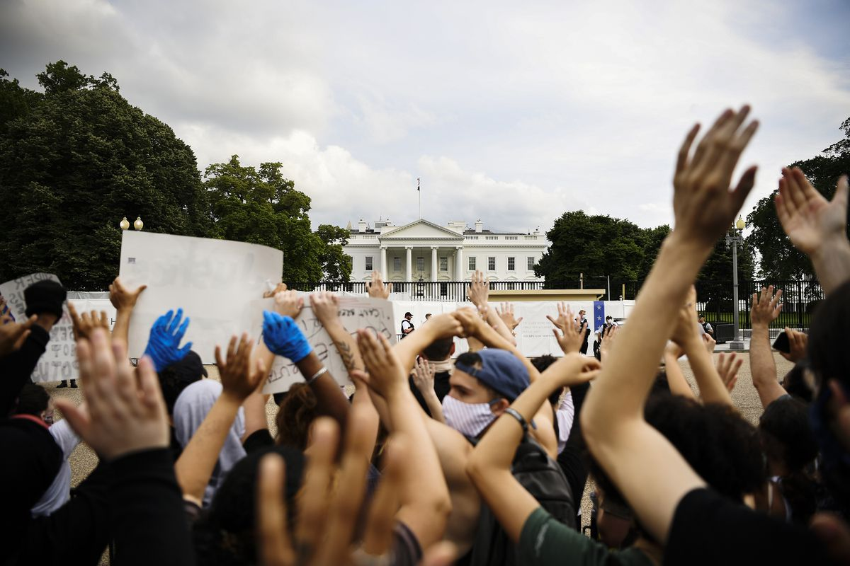Arms of various skin tones are raised in the air; in the background of the photo stands the White House, slightly obscured by trees.