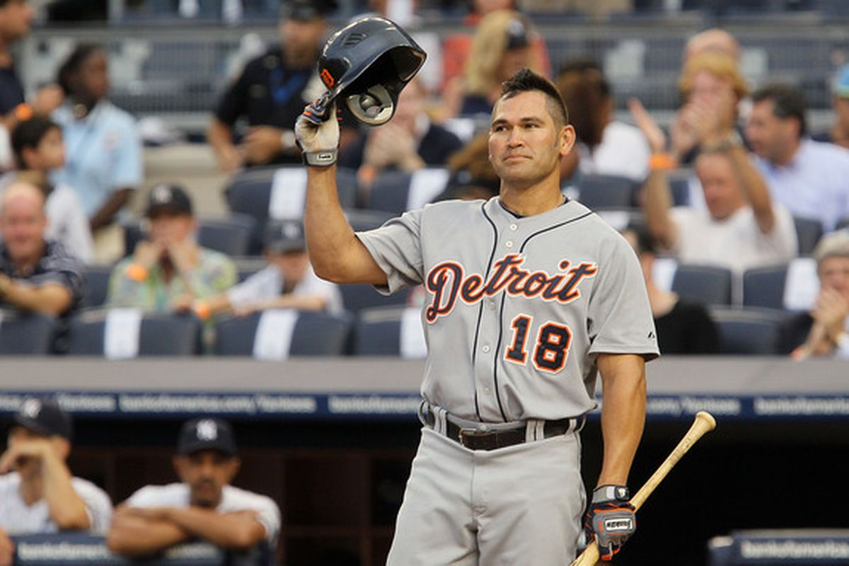 NEW YORK - AUGUST 16:  Johnny Damon #18 of the Detroit Tigers salutes the crowd prior to his first at bat against the New York Yankees on August 16 2010 at Yankee Stadium in the Bronx borough of New York City.  (Photo by Jim McIsaac/Getty Images)