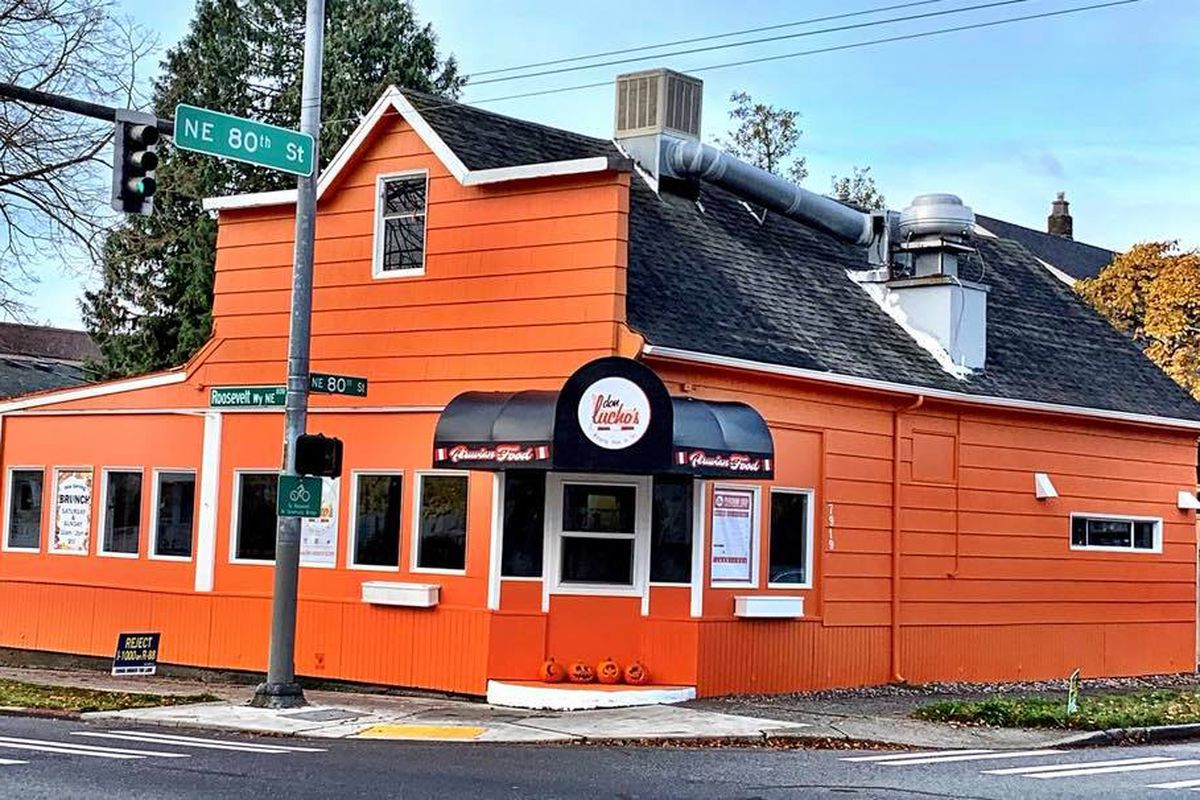 The orange-painted exterior of the new Don Lucho's restaurant in the Maple Leaf neighborhood.