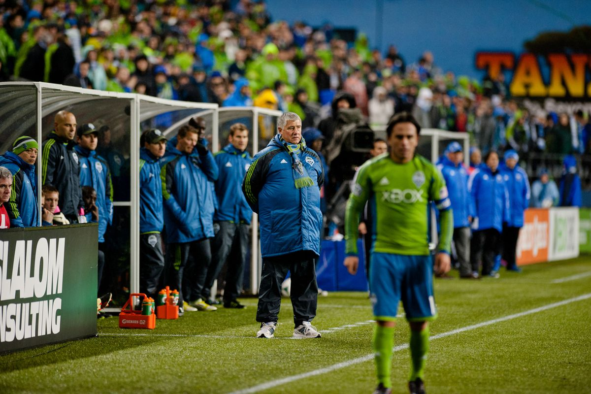 Sigi Schmid and Mauro Rosales during the match against Montreal