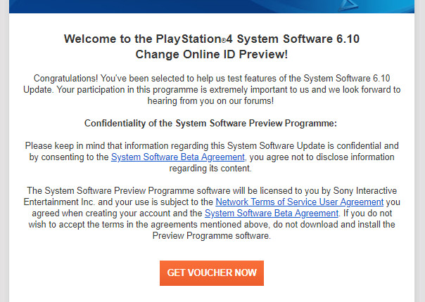 PS4 system software 6.10 change online ID preview