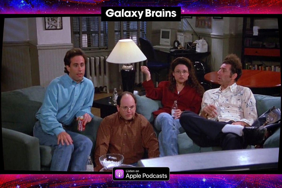 Graphic frame surround the cast of the Seinfeld sitcom
