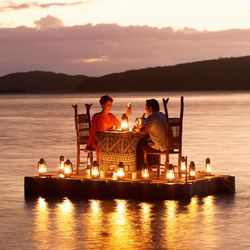 "Dinner on <a href=""http://www.turtlefiji.com/"">Turtle Island</a> in Fiji."