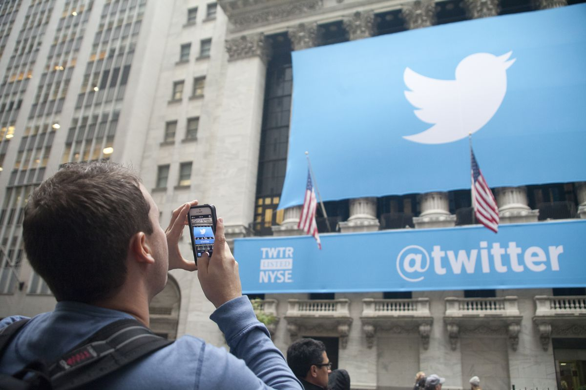 A Twitter banner is displayed in front of the New York Stock Exchange during Twitter Inc.'s (TWTR) initial public offering on the floor of the New York Stock Exchange in New York City on Nov. 7, 2013. Twitter Inc. sold 70 million shares at $26 during its