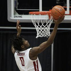 Washington State center Efe Abogidi shoots during the second of the team's NCAA college basketball game against Utah in Pullman, Wash., Thursday, Jan. 21, 2021.