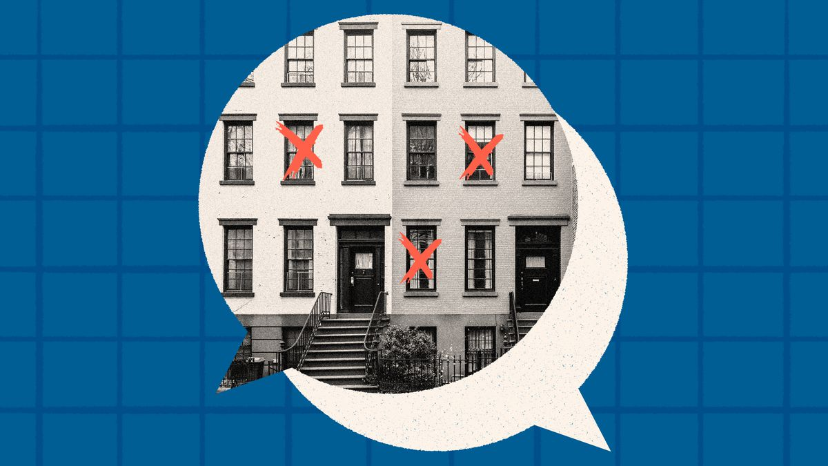 Two attached Brooklyn row homes with red X's crossing out windows. The scene is framed in a speech bubble and behind it is a subtle grid pattern. Photo illustration.
