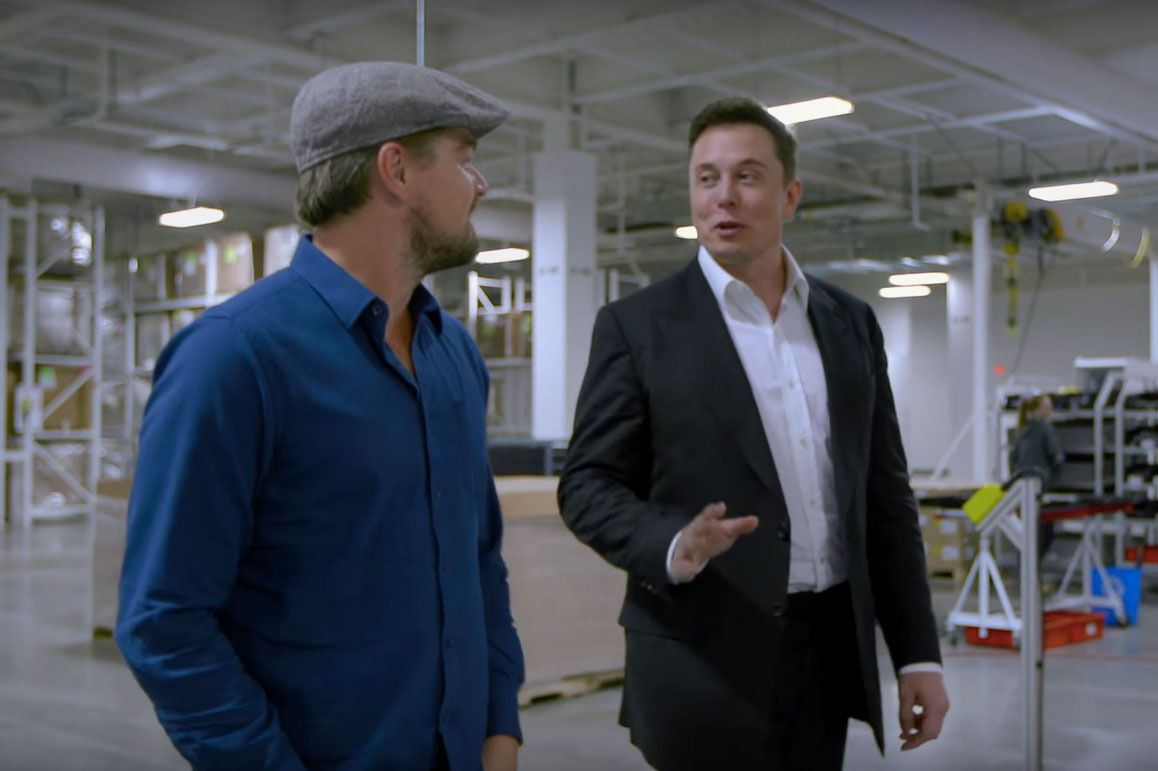 In the film, DiCaprio talks to Elon Musk about transportation solutions that use renewable energy