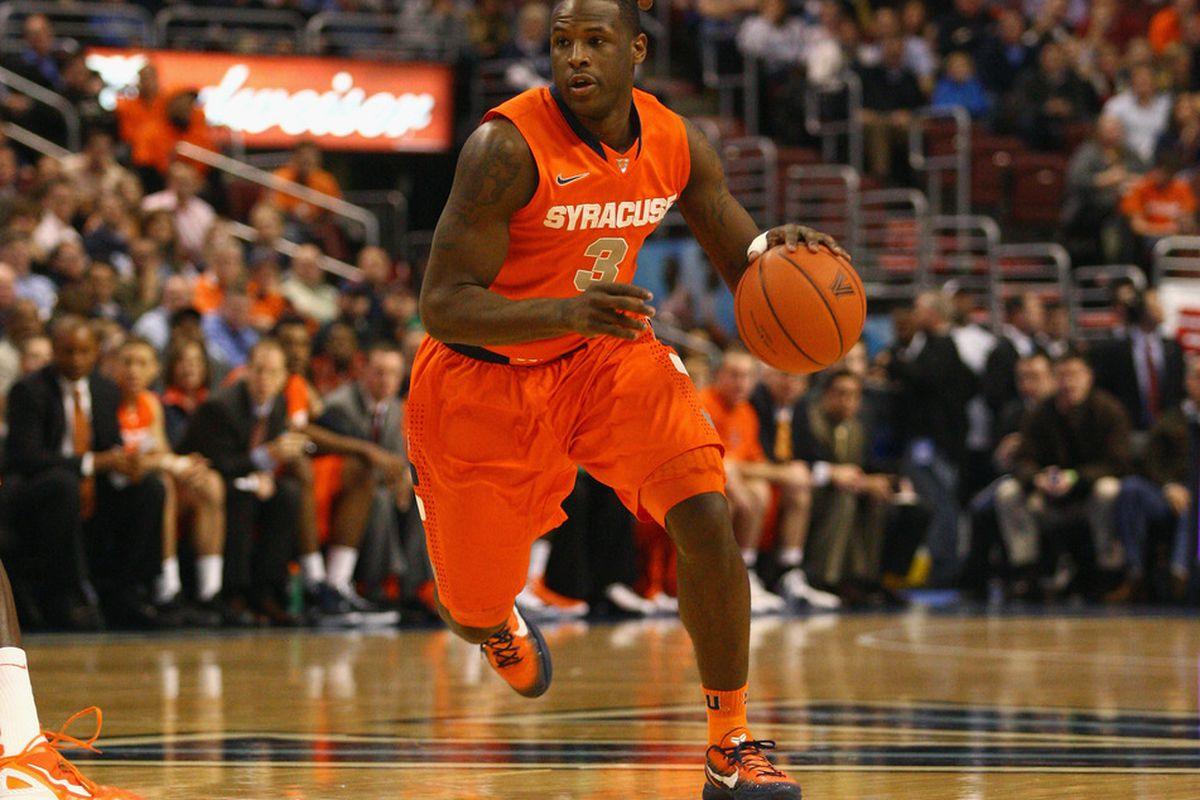 Dion Waiters (3) of the Syracuse Orange drives against the Villanova Wildcats at the Wells Fargo Center on January 11, 2012 in Philadelphia, Pennsylvania.  (Photo by Chris Chambers/Getty Images)