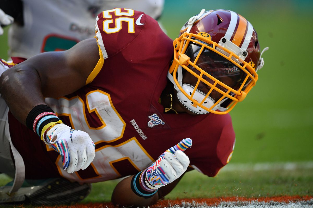 Washington running back Chris Thompson in action against the Miami Dolphins in the third quarter at Hard Rock Stadium on October 13, 2019 in Miami, Florida.