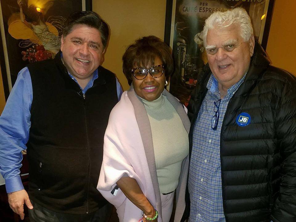 Then Democratic gubernatorial nominee J.B. Pritzker, Cook County Recorder of Deeds Karen Yarbrough, and Melrose Park Mayor Ron Serpico. From Facebook.