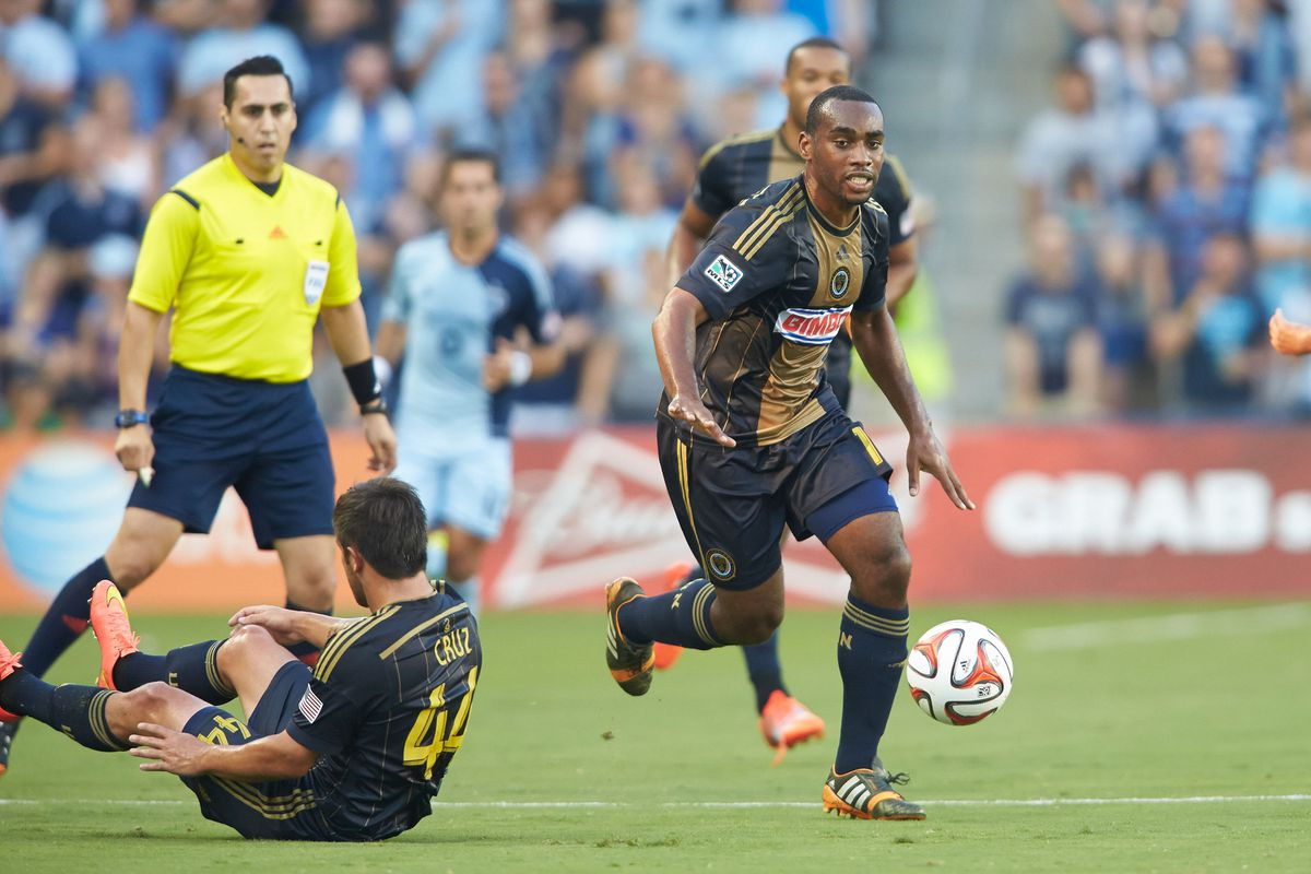 Amobi Okugo, advancing down the field, was once an enemy at Sporting Park.