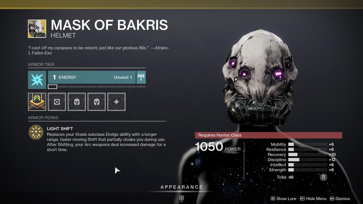 Mask of Bakris Exotic armor Destiny 2