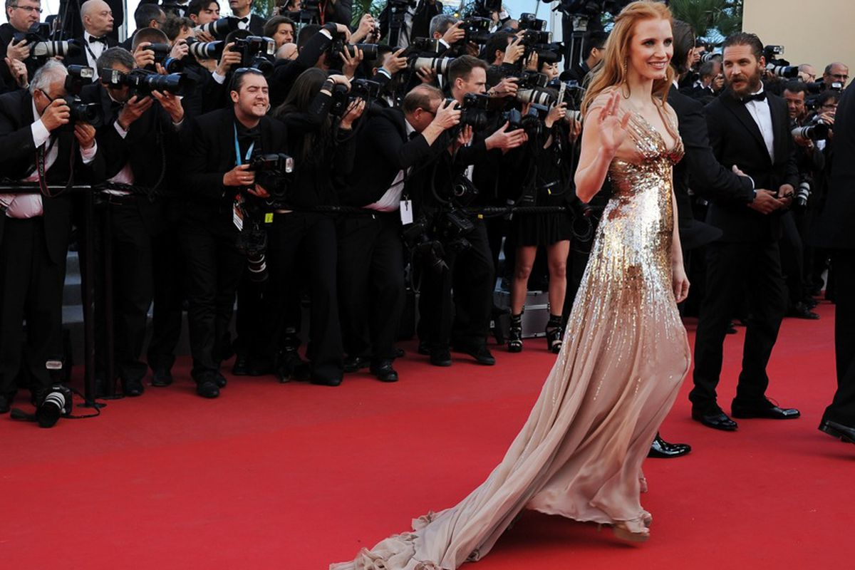 """Jessica Chastain's stylist <a href=""""http://media.wwd.com/media-news/film-tv/racing-toward-the-red-carpet-6541848?src=rss/recentstories/20121214"""">explains</a> her methods, via Getty"""