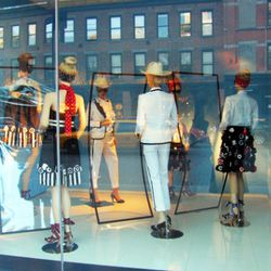 Three well-proportioned mannequins and their funhouse doubles.