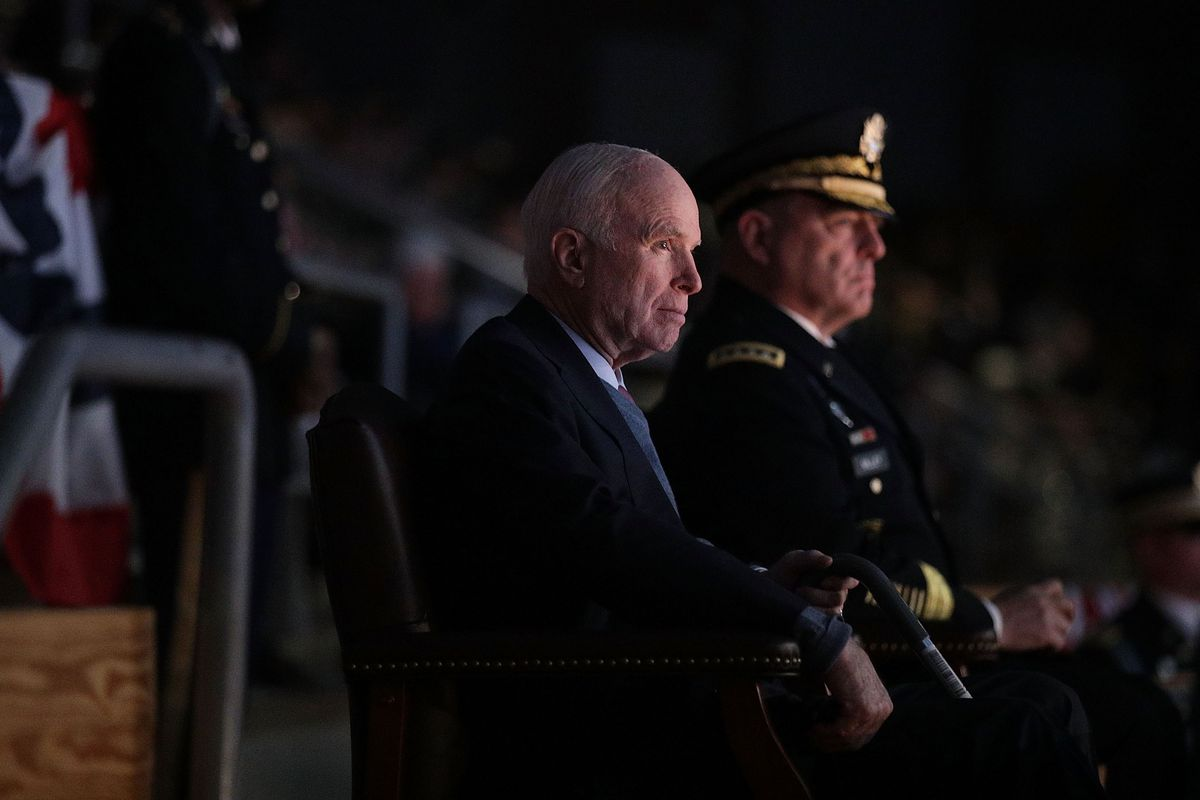 Who Was John Mccain David Foster Wallace Gave Us The Best Answer  Vox Sen John Mccain Watches A Special Twilight Tattoo Performance With Us Army  Chief Of Staff Gen Mark A Milley At Fort Myer In Arlington Virginia