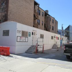 Construction trailer's new location, on Sheffield just north of Waveland -