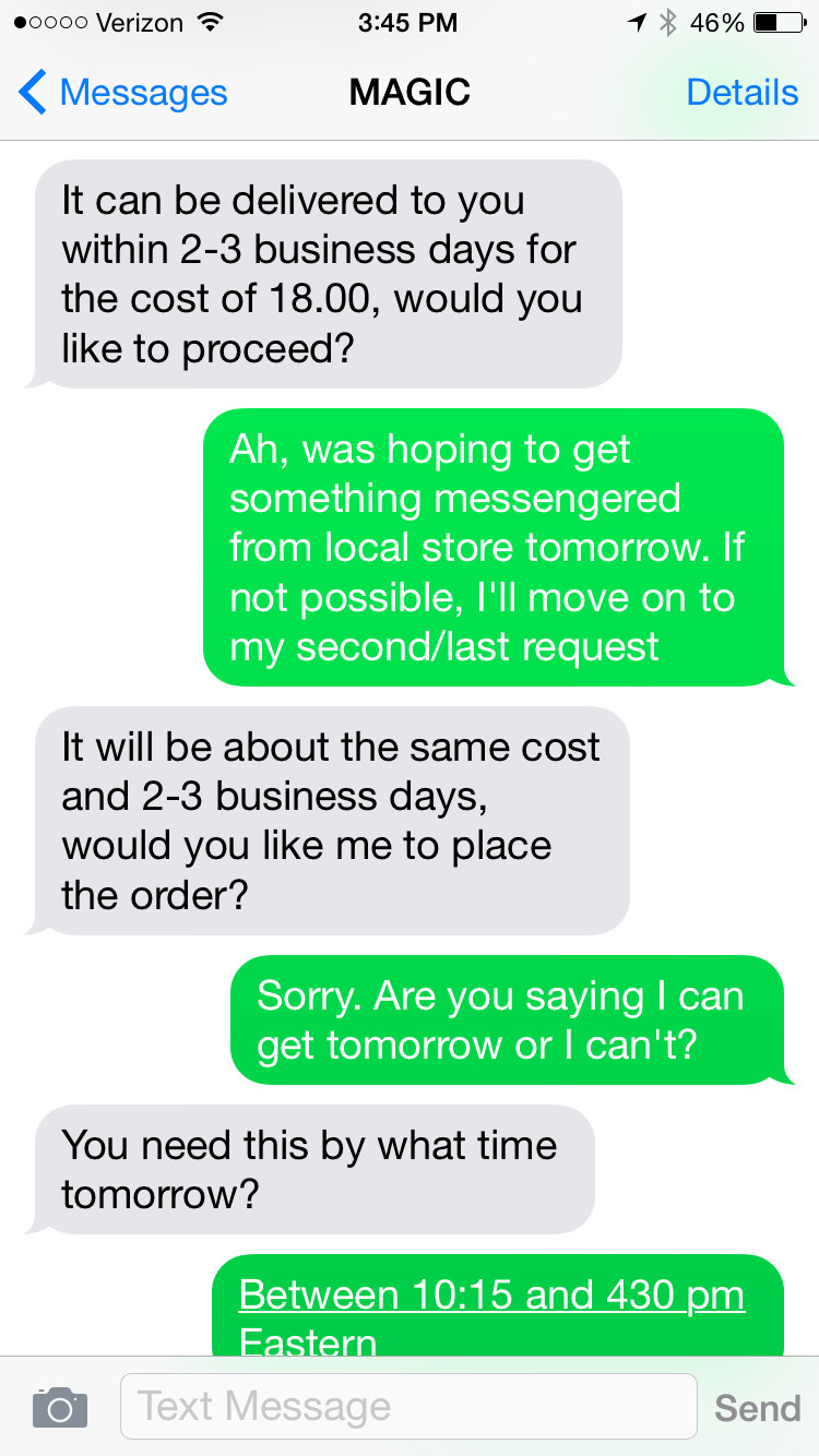I Tried Out Magic, the New Text Message Concierge, and It