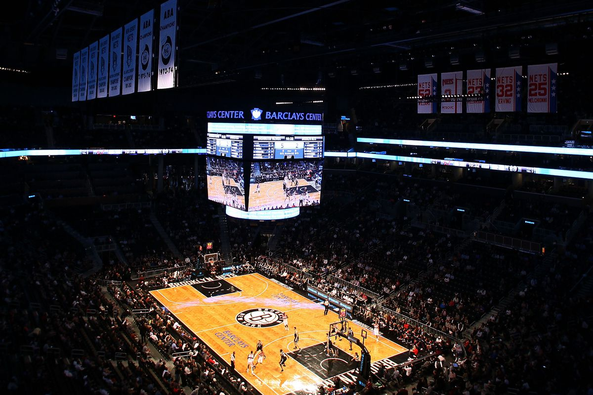 A view of the Barclays Center basketball court.