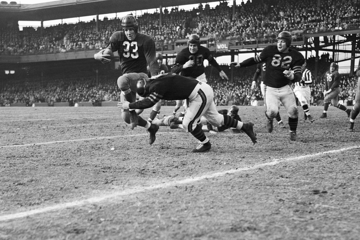 Football Player Sammy Baugh Getting Tackled
