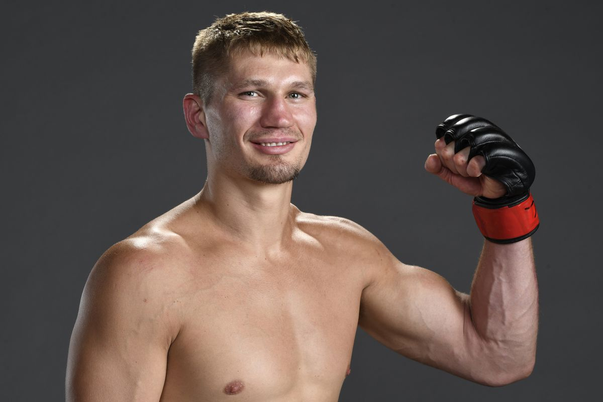 Austin Hubbard poses for a portrait backstage after his victory during the UFC Fight Night event at UFC APEX on June 20, 2020 in Las Vegas, Nevada.