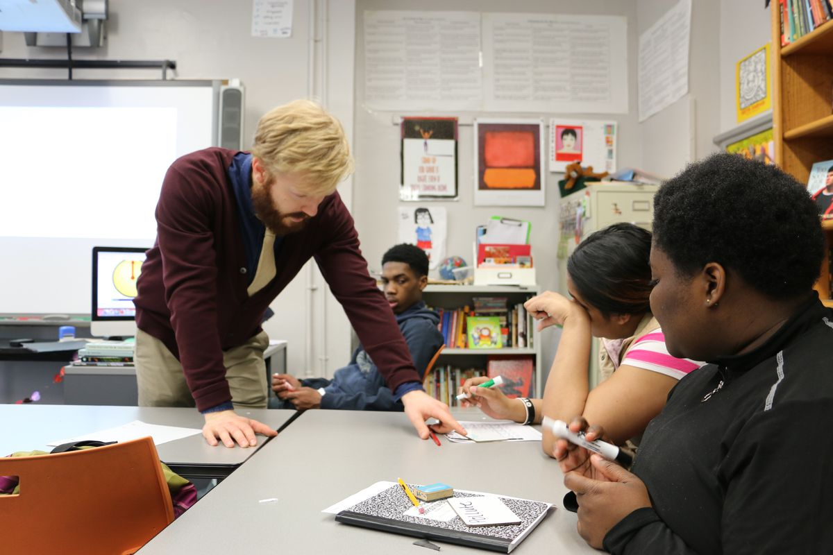 A class at Brooklyn Frontiers High School, a transfer school