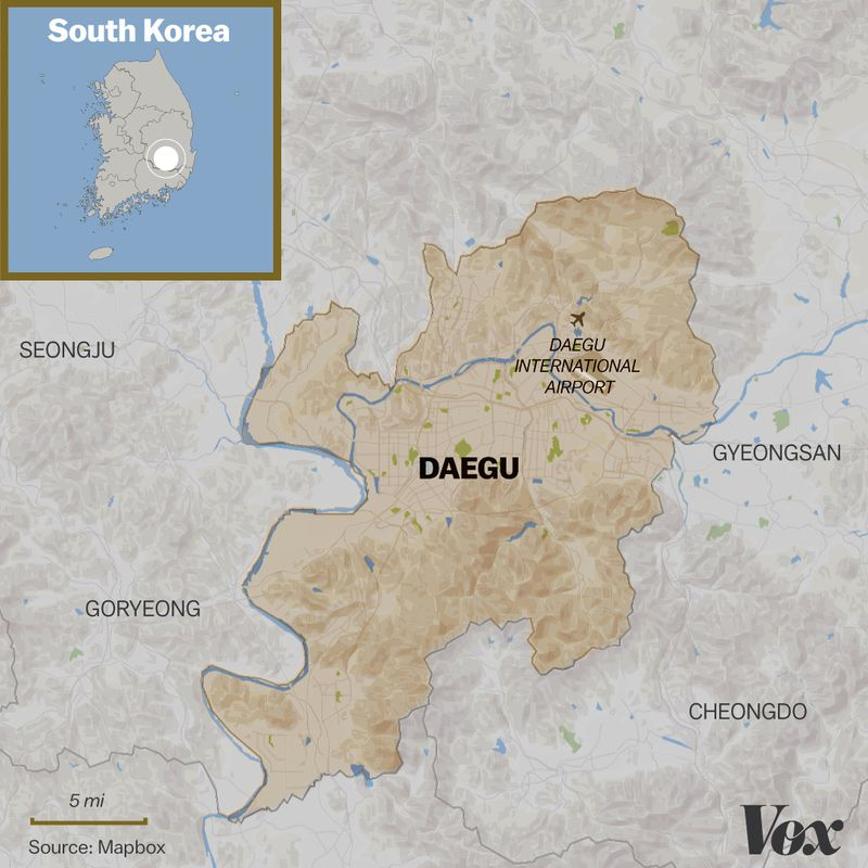A map of Daegu, in the southeast of South Korea.