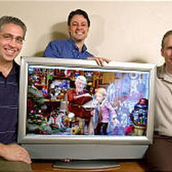 Chris Creek, left, was in charge of art direction, Chad Smith supervised the computer graphics and Dan Farr wrote the story.