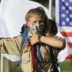 Patrol leader Makaylee Carlisle starts a Boy Scout meeting for the all-female Troop 314 at Parkview Park in Stansbury Park on Monday, July 6, 2020.