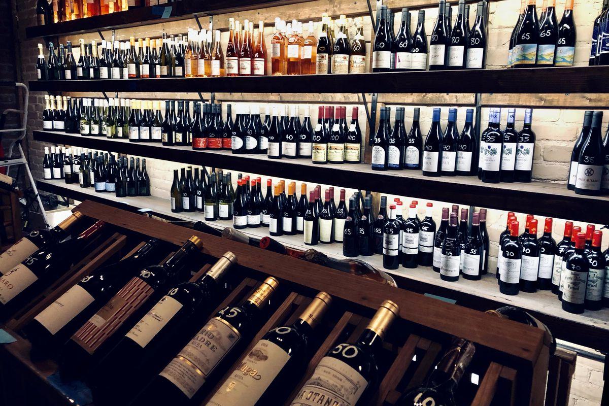 St. Vincent's floor-to-ceiling wine shelves