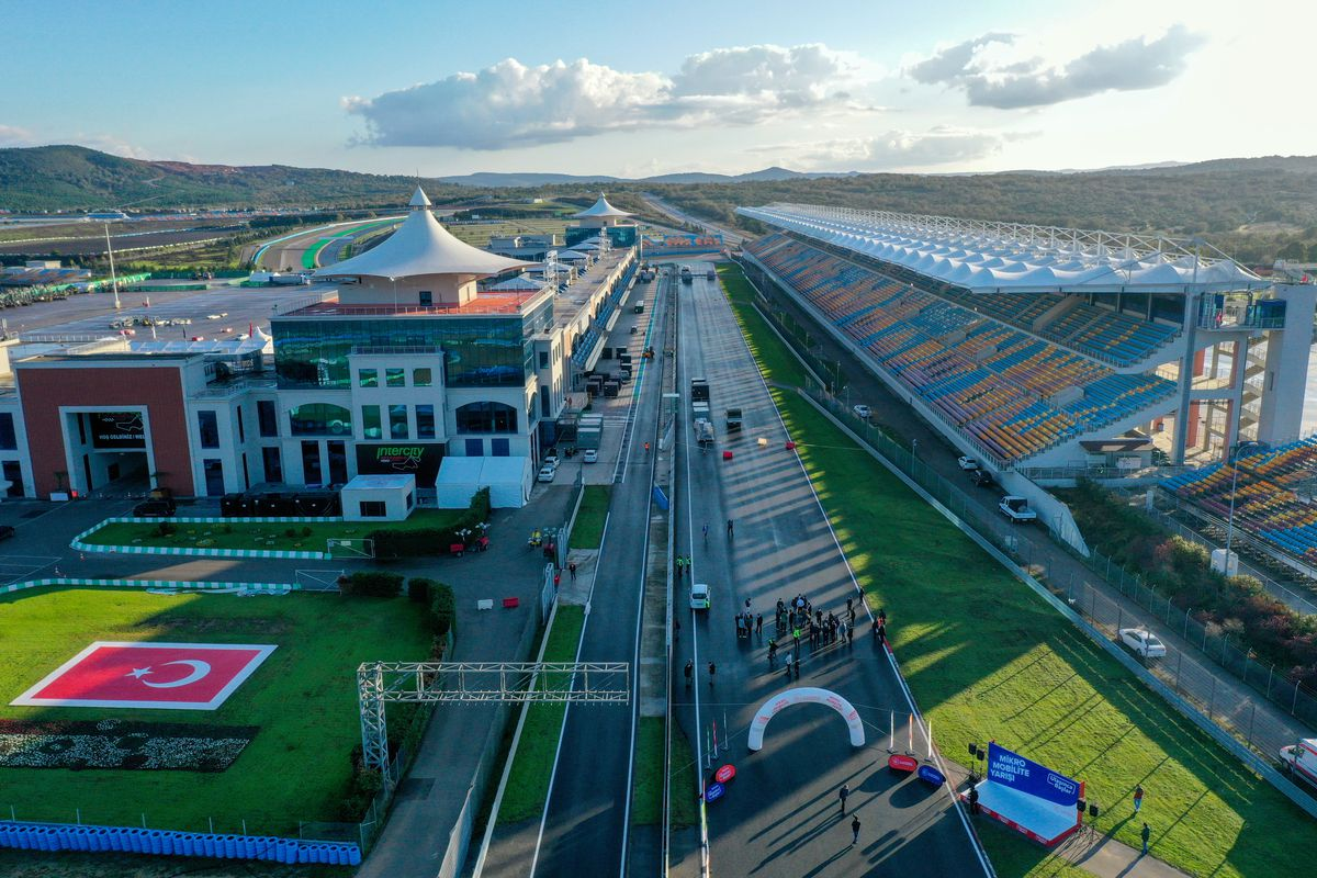 A drone photo shows a general view of the Formula 1 DHL Turkish Grand Prix 2020 race track site at Intercity Istanbul Park, on November 7, 2020 in Istanbul, Turkey.