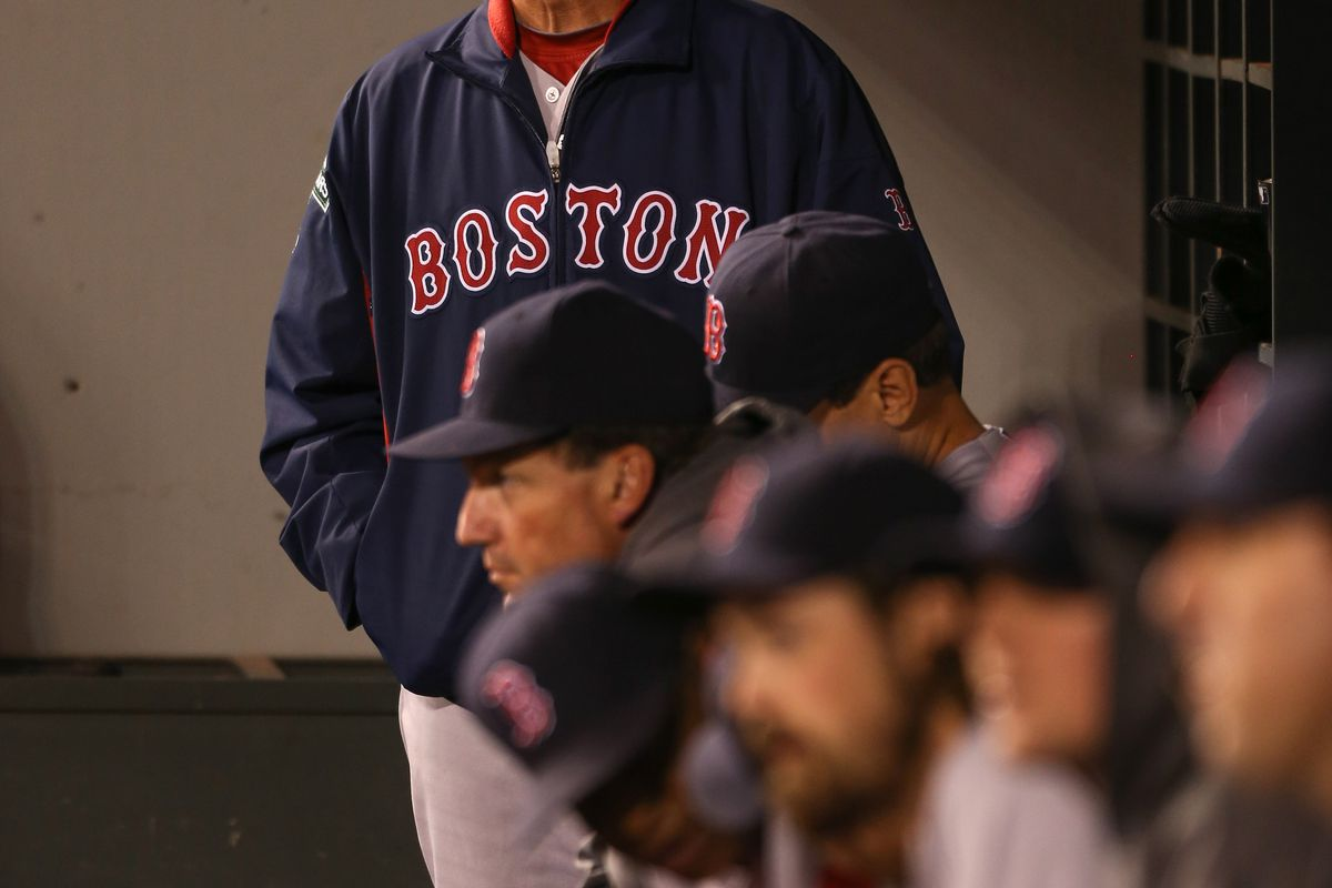 SEATTLE, WA - SEPTEMBER 05:  Manager Bobby Valentine #25 of the Boston Red Sox looks on during the game against the Seattle Mariners at Safeco Field on September 5, 2012 in Seattle, Washington.  (Photo by Otto Greule Jr/Getty Images)